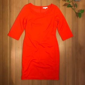 Cleo Tomato Red 3/4 Sleeve Sheath Dress